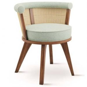 rattan walnut linen upholstered dining chair