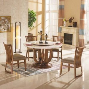 solid wood marble top dining table set