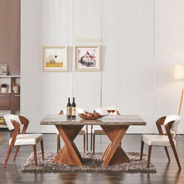solid wood dining table set twisted leg