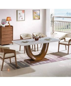 FOH-XY804 - Contemporary Marble Top Solid Wood Dining Table Set