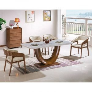 contemporary marble top solid wood dining table set