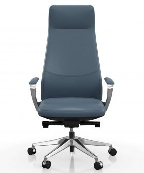 FOH-C1008b2 - Blue Office Swivel Chair High Narrow Back
