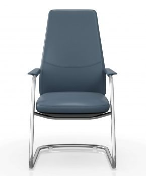 FOH-C1008b - U Sled Base High Back Blue Office Arm Chair