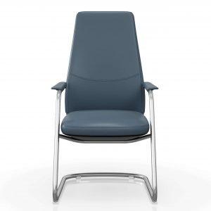 FOH-C1008b – U Sled Base High Back Blue Office Arm Chair