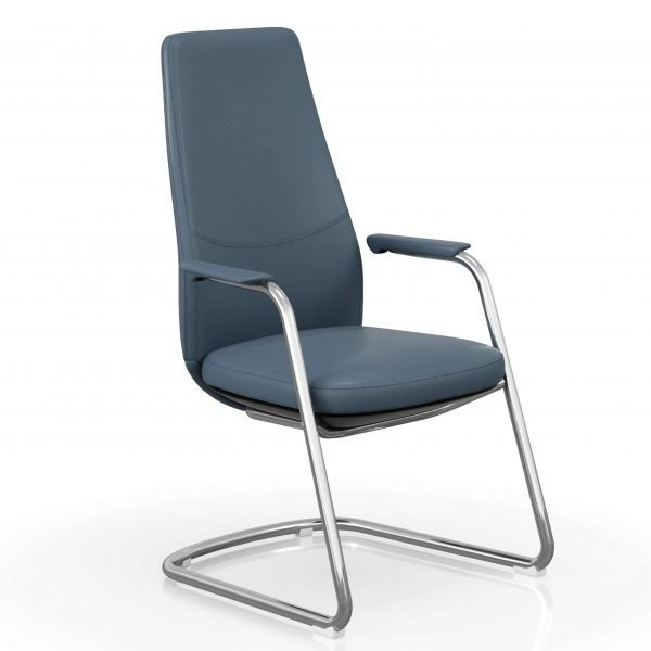 FOH-C1008b – U Sled Base High Back Blue Office Arm Chair