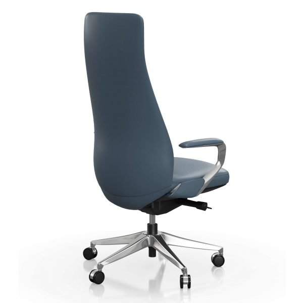 FOH-C1008b - Blue Office Swivel Chair High Narrow Back
