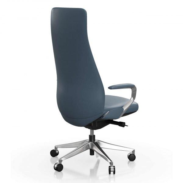FOH-C1008b - Blue Office Swivel Chair High Narrow Back