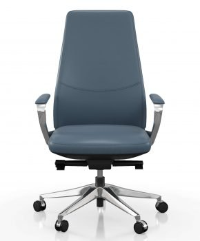 FOH-C1008b3 - Blue Office Swivel Chair Medium High Back