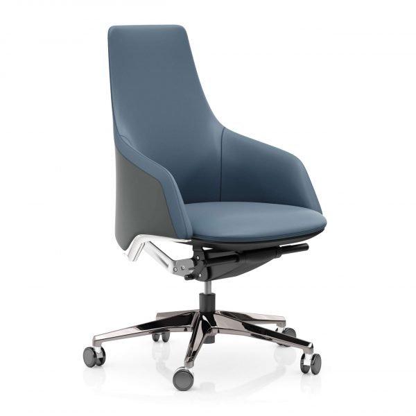 FOH-C10016b2 – Blue Office Swivel Chair Medium High Adjustable Backrest