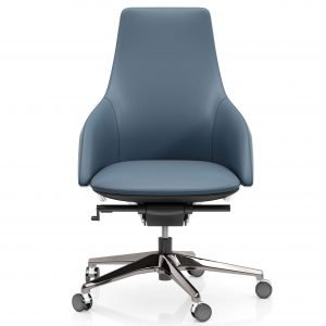 FOH-C10016b2 – Blue Office Swivel Chair Medium High Adjustable Backrest