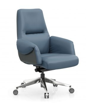 FOH-C1017b1 – Blue Office Swivel Chair Curled Armrest