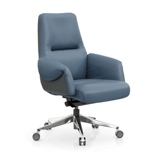 FOH-C1017b1 – Blue Office Swivel Chair Curled Armrest