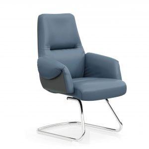 FOH-C1017b2 – Blue Office U Base Chair Curled Armrest