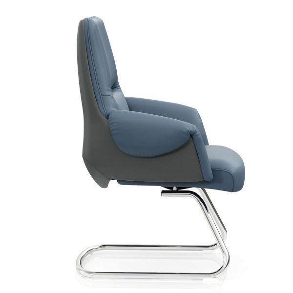 FOH-C1017b2 – Blue Office U Base Chair Curled Armrest