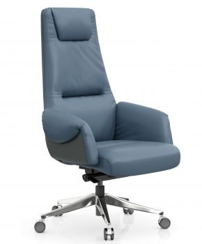 FOH-C1017b3 – Blue Office Swivel Chair Curled Armrest with Head Cushion