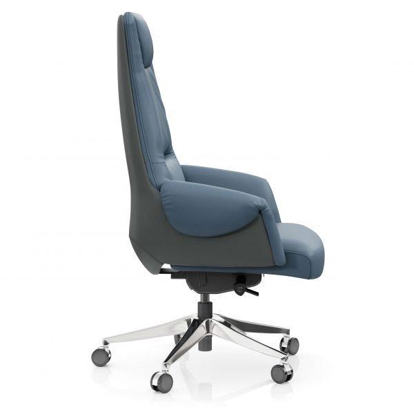 FOH-C1017b3 – Blue Office Swivel Chair Curled Armrest with Head Cushion