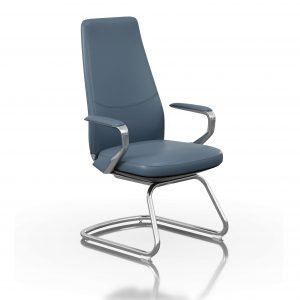 FOH-C1018b1 - Blue Office U Base Chair Loop Armrest
