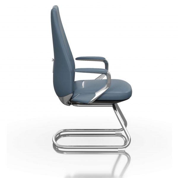 FOH-C1018b1 - Blue Office U Base Chair Loop Armrest
