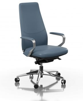 FOH-C1018b2 - Blue Office Swivel Chair Loop Armrest Medium Backrest
