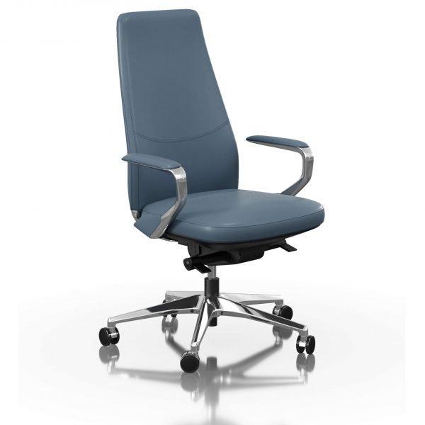 FOH-C1018b2 - Blue Office Swivel Chair Loop Armrest Medium Backrest