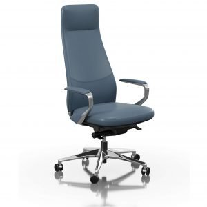 FOH-C1018b3 - Blue Office Swivel Chair Loop Armrest High Backrest