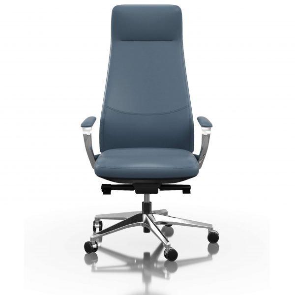 FOH-C1018b3 - Blue Office Swivel Chair Loop Armrest High Backrest