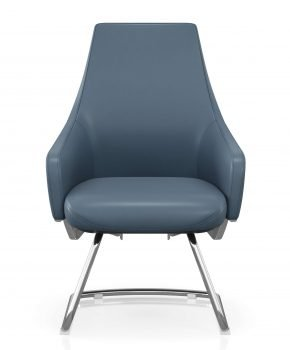 FOH-C1006b3 - Blue Office Short Back U Base Chair