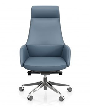 FOH-C1007b - Blue Office Swivel Chair High Tapering Back