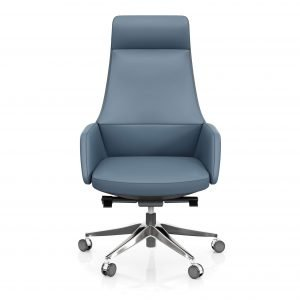 FOH-C107 – Blue Office Swivel Chair High Tapering Back