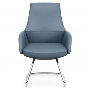 U sled base upholstered blue office chair