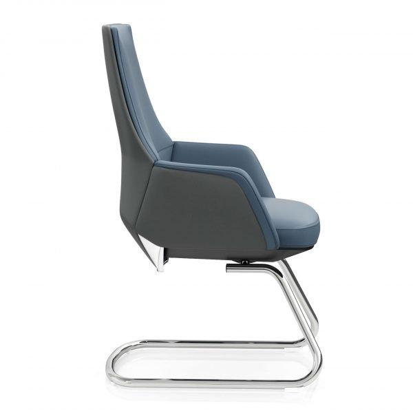 U sled base upholstered blue office chair