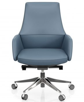FOH-C1007b3 - Blue Office Swivel Chair Short Back