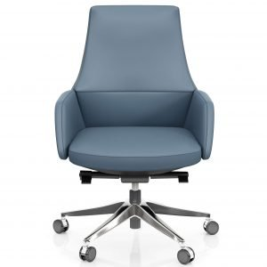 FOH-C107b – Blue Office Swivel Chair Short Back