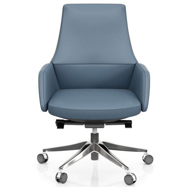 FOH-C107b – Blue Office Swivel Chair Short Back
