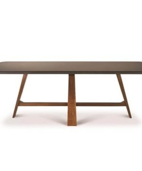 FOH-XY019 - Smoked Glass Top Angled Leg Dining Table