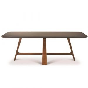 angled leg smoked glass top dining table