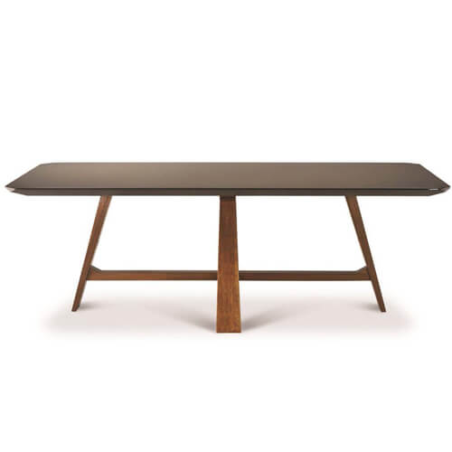 FOH-XY019 angled leg smoked glass top dining table