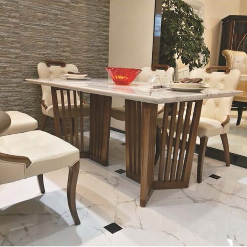 FOH-XY026 – Double Striped Tribase Table Dining Set