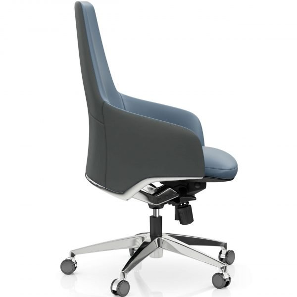 FOH-C1026b2 – Blue Office Swivel Chair Medium High Tilt Adjustable