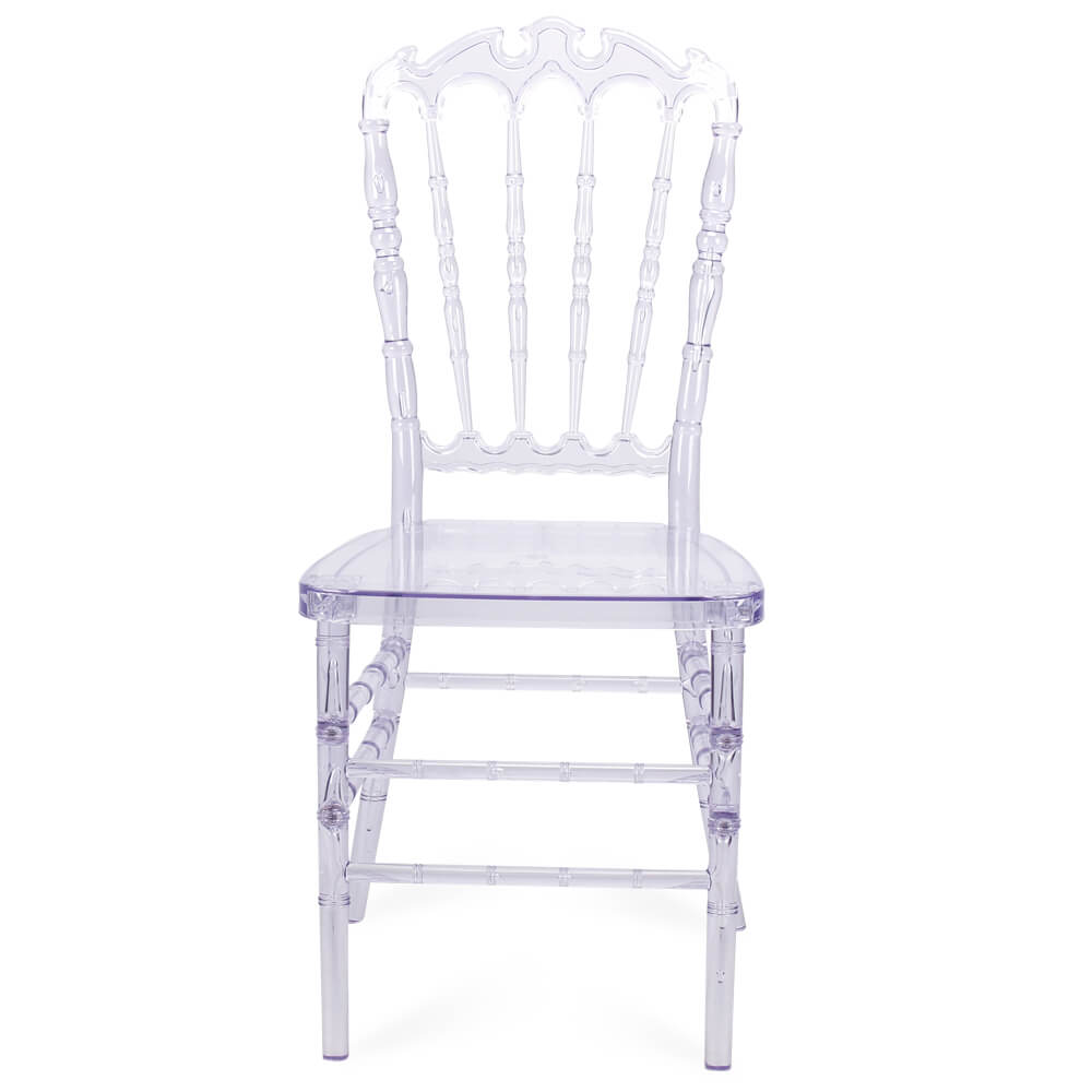 FOH-CF0004 Acrylic Clear Slatback Chair with Carved Top