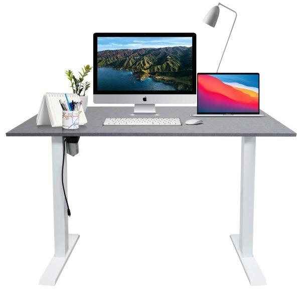White frame sit stand desk