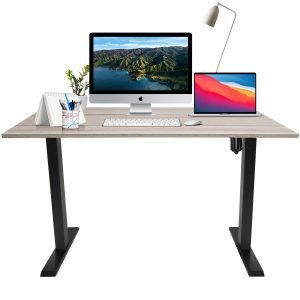 Black frame sit stand desk
